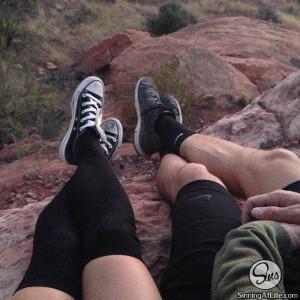 johnny sins kissa sins hiking feet hanging off cliff